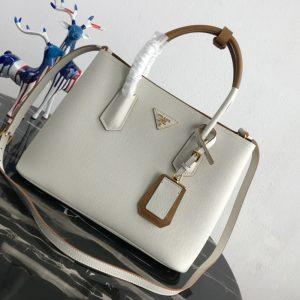 Replica Prada 1BG775 Double Medium Bag in White/Brown Saffiano leather