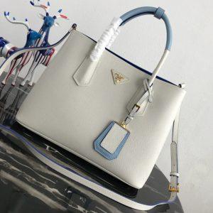 Replica Prada 1BG775 Double Medium Bag in White/Blue Saffiano leather