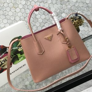 Replica Prada 1BG775 Double Medium Bag in Pink/Pink Saffiano leather