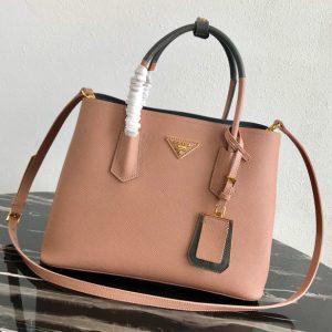 Replica Prada 1BG775 Double Medium Bag in Pink/Gray Saffiano leather