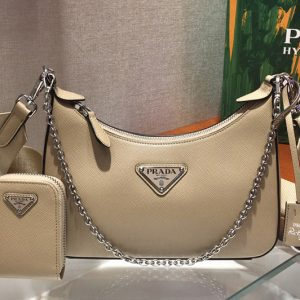 Replica Prada 1BH204 Saffiano leather shoulder bag in Beige Saffiano leather