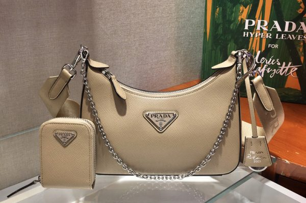 Replica Prada 1BH204 Saffiano leather shoulder bag in Beige Saffiano leather