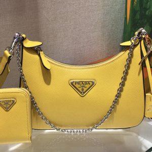 Replica Prada 1BH204 Saffiano leather shoulder bag in Yellow Saffiano leather