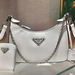 Replica Prada 1BH204 Saffiano leather shoulder bag in White Saffiano leather