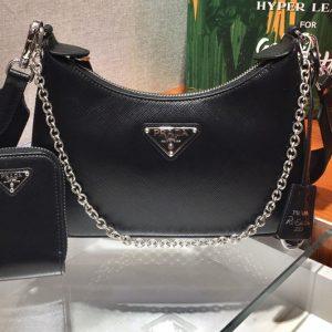 Replica Prada 1BH204 Saffiano leather shoulder bag in Black Saffiano leather