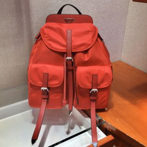Replica Prada 1BZ063 Nylon and Saffiano leather backpack in Red Nylon