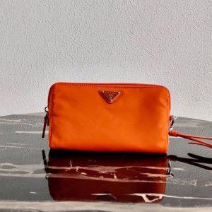 Replica Prada 1NE693 Fabric Cosmetic Pouch in Orange Fabric