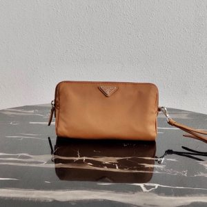 Replica Prada 1NE693 Fabric Cosmetic Pouch in Brown Fabric