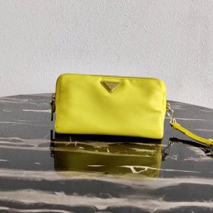 Replica Prada 1NE693 Fabric Cosmetic Pouch in Yellow Fabric