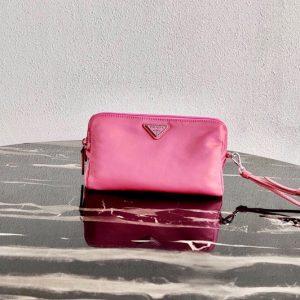Replica Prada 1NE693 Fabric Cosmetic Pouch in Pink Fabric