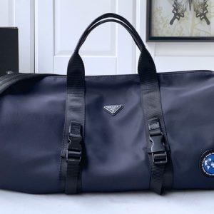 Replica Prada 2VC015 Nylon and Saffiano leather duffel bag in Blue Nylon