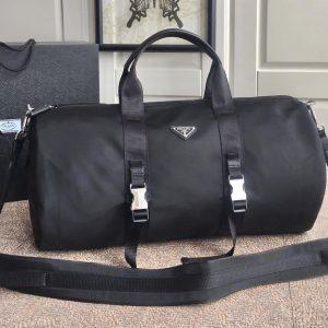 Replica Prada 2VC015 Nylon and Saffiano leather duffel bag in Black Nylon