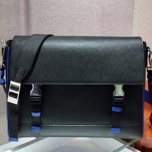 Replica Prada 2VD018 Saffiano Leather Cross-Body Bag in Black/Blue Saffiano Leather