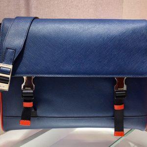 Replica Prada 2VD018 Saffiano Leather Cross-Body Bag in Blue Saffiano Leather
