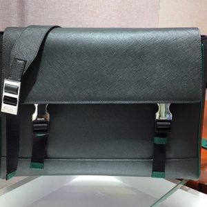 Replica Prada 2VD018 Saffiano Leather Cross-Body Bag in Black/Green Saffiano Leather