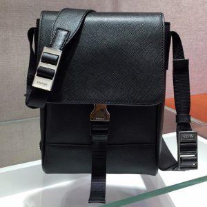 Replica Prada 2VD019 Saffiano Leather Cross-Body Bag in Black Saffiano Leather