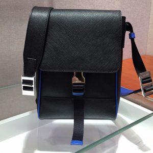 Replica Prada 2VD019 Saffiano Leather Cross-Body Bag in Black/Blue Saffiano Leather