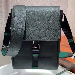 Replica Prada 2VD019 Saffiano Leather Cross-Body Bag in Black/Green Saffiano Leather