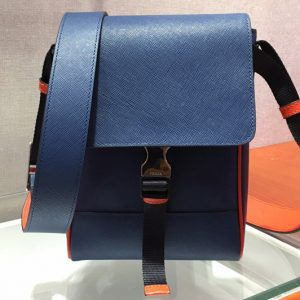 Replica Prada 2VD019 Saffiano Leather Cross-Body Bag in Blue Saffiano Leather