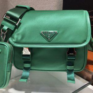 Replica Prada 2VD034 Nylon Cross-Body Bag in Green Nylon