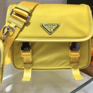 Replica Prada 2VD034 Nylon Cross-Body Bag in Yellow Nylon
