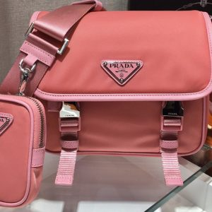 Replica Prada 2VD034 Nylon Cross-Body Bag in Pink Nylon