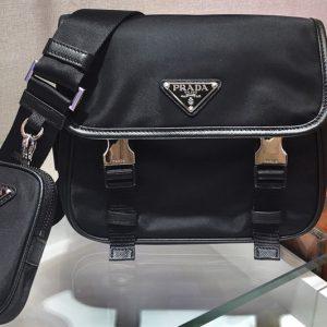 Replica Prada 2VD034 Nylon Cross-Body Bag in Black Nylon With Black Logo