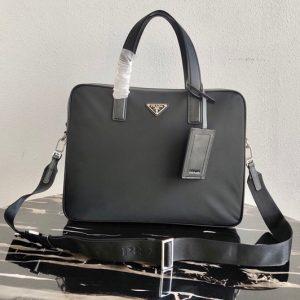 Replica Prada 2VE368 Saffiano Leather Briefcase In Black Saffiano Leather