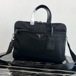 Replica Prada 2VE407 Nylon Briefcase in Black Nylon