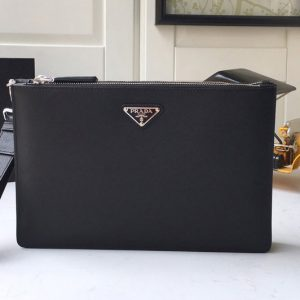 Replica Prada 2VF024 Saffiano Leather Clutch in Black Saffiano leather