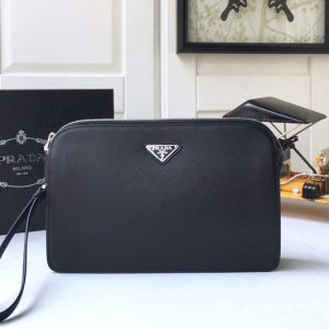 Replica Prada 2VF056 Saffiano Leather Clutch in Black Saffiano leather