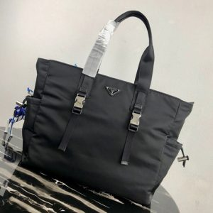 Replica Prada 2VG042 Nylon Tote Bag Black Nylon