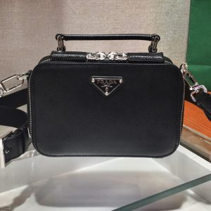 Replica Prada 2VH070 Brique Saffiano Leather Cross-Body Bag in Black Saffiano leather
