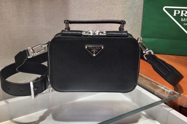 Replica Prada 2VH070 Brique Saffiano Leather Cross-Body Bag in Black Saffiano leather
