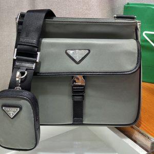 Replica Prada 2VH110 Nylon Cross-Body Bag in Gray Nylon