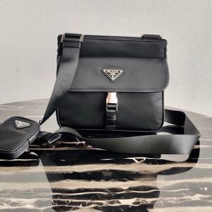 Replica Prada 2VH110 Nylon Cross-Body Bag in Black Nylon