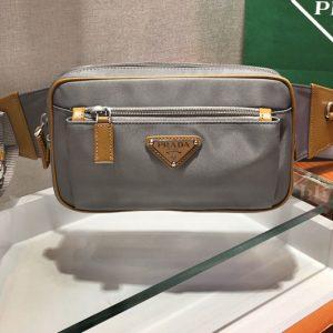 Replica Prada 2VL977 Nylon Belt Bag in Gray Nylon