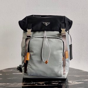 Replica Prada 2VZ135 Nylon Backpack in Gray/Black Nylon
