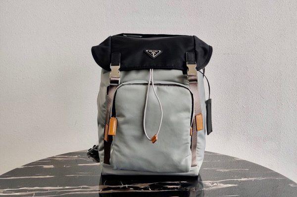Replica Prada 2VZ135 Nylon Backpack in Gray/Black Nylon