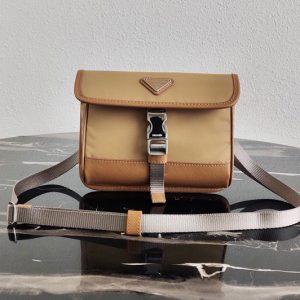 Replica Prada 2ZH108 Nylon and Saffiano Leather Smartphone Case in Brown Fabric