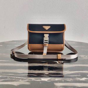 Replica Prada 2ZH108 Nylon and Saffiano Leather Smartphone Case in Black/Brown Fabric/Leather