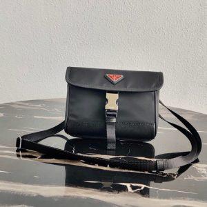 Replica Prada 2ZH108 Nylon and Saffiano Leather Smartphone Case in Black/Black Fabric/Leather