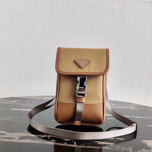 Replica Prada 2ZH109 Nylon and Saffiano Leather Smartphone Case in Beige/Brown Nylon/Leather