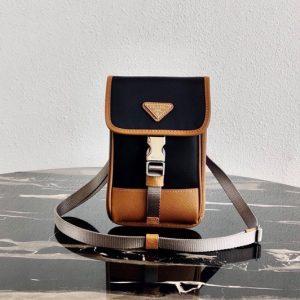 Replica Prada 2ZH109 Nylon and Saffiano Leather Smartphone Case in Black/Brown Nylon/Leather
