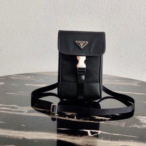 Replica Prada 2ZH109 Nylon and Saffiano Leather Smartphone Case in Black/Black Nylon/Leather