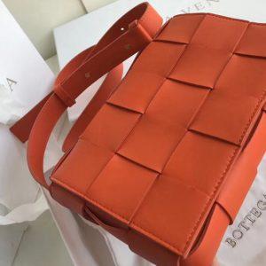 Replica Bottega Veneta 578004 BV Cassette Crossbody bag In Orange Lambskin Leather