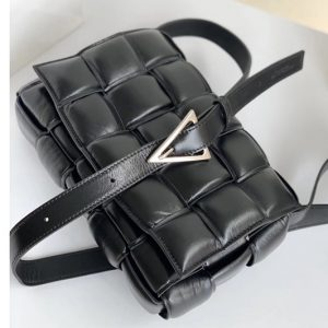 Replica Bottega Veneta 591970 padded cassette bag in Black Lambskin Leather With Silver Hardware
