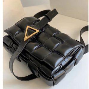 Replica Bottega Veneta 591970 padded cassette bag in Black Lambskin Leather With Gold Hardware