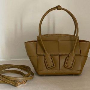 Replica Bottega Veneta 600606 BV Mini Arco Top-handle Bag In Mustard Calfskin Leather