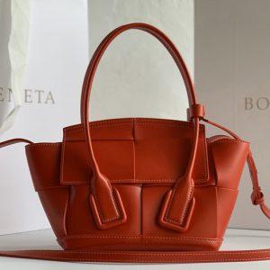 Replica Bottega Veneta 600606 BV Mini Arco Top-handle Bag In Red Calfskin Leather